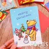 正版 迪士尼 小熊維尼 小豬 跳跳虎 聖誕節卡片 耶誕卡片 大卡片 附信封 F款 COCOS XX001