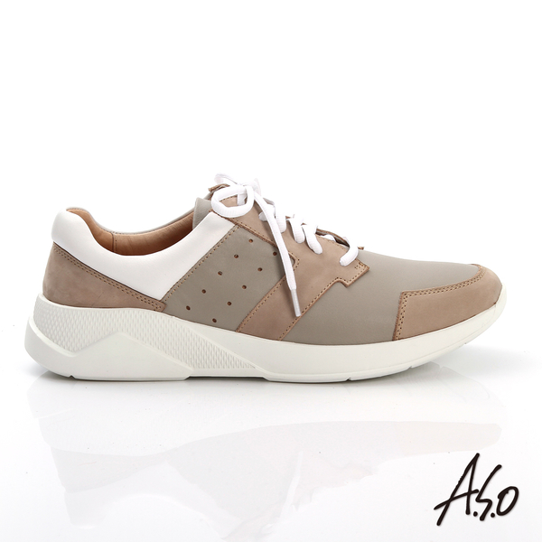 A.S.O 輕量抗震 磨砂真皮綁帶奈米休閒鞋 卡其