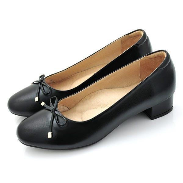 全真皮金屬蝴蝶結低跟包鞋-黑色‧karine(MIT台灣製)