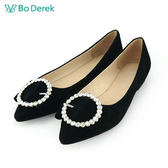 【Bo Derek 】平結鑽飾圓圈平底鞋-黑色