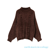 「Hot item」絲絨麻花編織壓紋套頭針織衫 - earth music&ecology