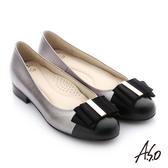 A.S.O 個性美型 牛皮立體蝴蝶結真皮質感低跟鞋-灰