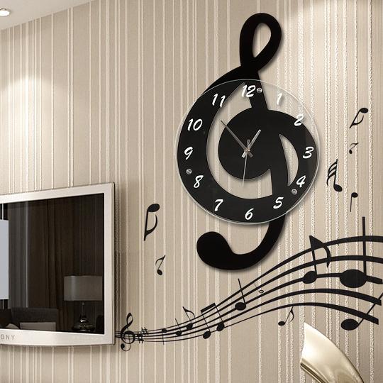 掛鐘音樂音符客廳掛鐘時尚鐘錶個性石英鐘田園裝飾時鐘靜音藝YJT 牛年新年全館免運