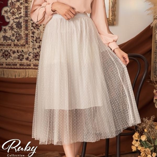 裙子 點點百褶鬆緊紗裙長裙-Ruby s 露比午茶