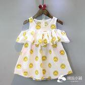女童洋裝 女童連衣裙2018夏季新款中小童裝滿印笑臉荷葉邊A字背心裙子