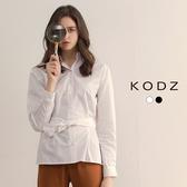 東京著衣【KODZ】率性顯瘦修身腰綁帶設計襯衫-S.M.L(172610)