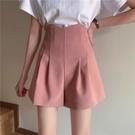 2021夏季新款韓版高腰闊腿短褲女寬鬆顯廋顯腿長A字西裝褲休閒褲 黛尼時尚精品