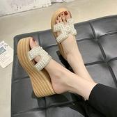增高拖鞋 厚底拖鞋女夏季新款時尚正韓水鑚增高百搭厚底楔形沙灘一字拖-Ballet朵朵
