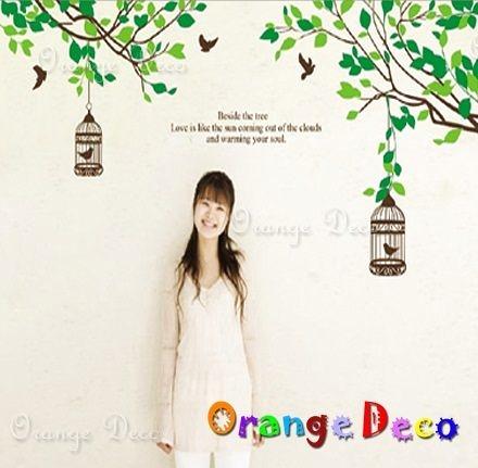 壁貼【橘果設計】樹枝鳥籠 DIY組合壁貼 牆貼 壁紙 壁貼 室內設計 裝潢 壁貼