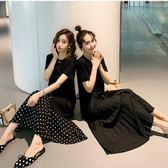 初心 韓系 洋裝 【D6202】 波點 短袖 百褶 拼接 長裙 寬鬆 長洋裝 洋裝