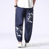 中國風男褲子春夏薄款亞麻休閒長褲胖子大碼寬鬆棉麻燈籠哈倫褲潮『艾麗花園』