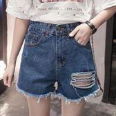 大尺碼牛仔褲胖mm百搭短褲時尚破洞潮女高腰熱褲加加大號【爆米花】