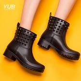 雨鞋   中筒套鞋春夏膠鞋成人雨靴女時尚機車水鞋女防滑雨鞋女