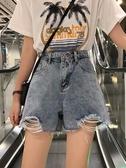 夏季2020新款韓版破洞牛仔褲短褲寬鬆高腰顯瘦直筒褲闊腿褲女褲子 陽光好物