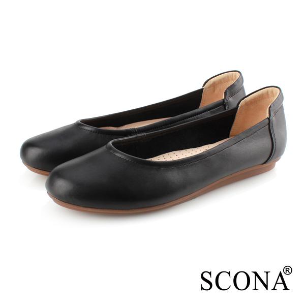 SCONA 蘇格南 全真皮 舒適百搭通勤娃娃鞋 黑色 31077-1