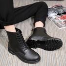 [Here Shoes]男鞋-加大尺碼消光黑霧面綁帶馬丁雨靴 雨天熱銷款 軍靴 機車靴 ─AR809