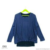 【INI】好感棉質、真兩件式愛心印花上衣.深藍色