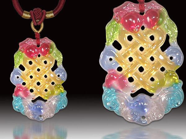 鹿港窯~居家開運水晶琉璃項鍊~富貴吉祥(蝙蝠、壽桃、如意盤結) 附精美包裝◆免運費送到家