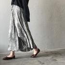 韓版豹紋緞面絲質高腰長裙A字裙中大尺碼【83-18-8YX0313-21】ibella 艾貝拉