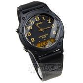 CASIO卡西歐  AW-49H-1B 雙顯休閒錶─50公尺防水 黑金/膠帶款/圓型款/數位指針 手錶 【時間玩家】