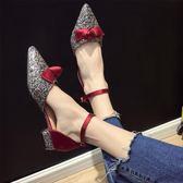 雙12好禮 涼鞋女2018夏季新款歐洲站名媛百搭尖頭亮片蝴蝶結一字扣帶低跟鞋