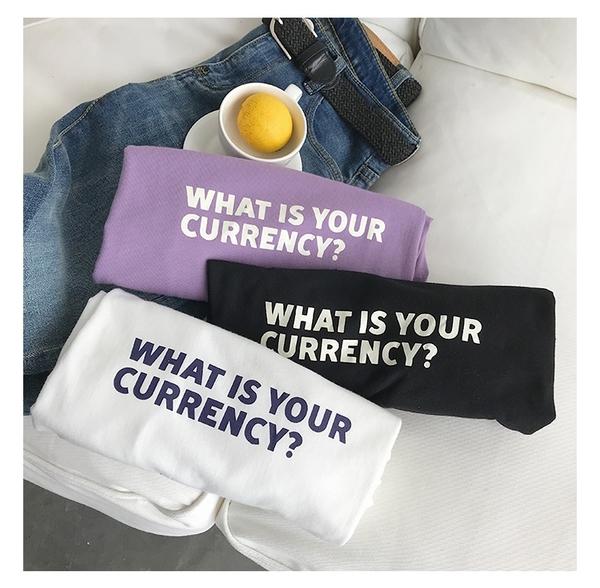 潮T 文字t  情侶T 情侶裝  純棉短T MIT台灣製【Y0870-6】WHAT IS YOUR CURRENCY? 快速出貨