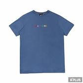 KANGOL 男女 圓領棉T 彩色英文LOGO 袋鼠 情侶衣 莫蘭迪藍 - 6021101882