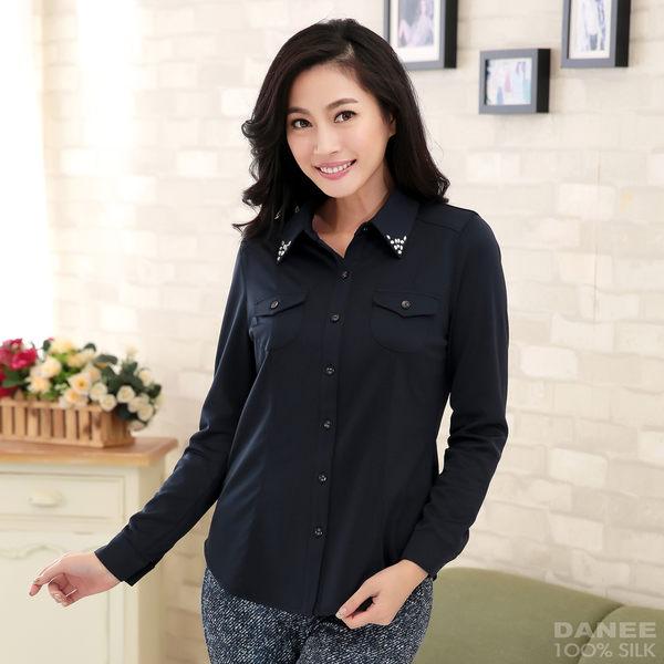 【岱妮蠶絲】領口燙鑽修身長袖蠶絲襯衫(深藍)