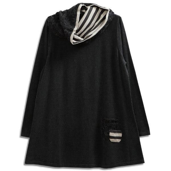 針織 配條領巾口袋毛衣-衣大樂事EDOLLARS