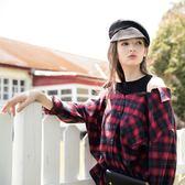 秋裝上市[H2O]針織剪接英格蘭格紋落肩寬鬆中長版襯衫 - 紅藍格/黑白格色 #8655005