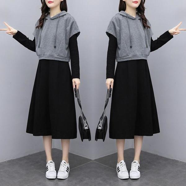 中大碼長袖套裝 休閑套裝 運動套裝 兩件套大碼女裝寬松顯瘦針織連衣裙套裝4F088 胖丫