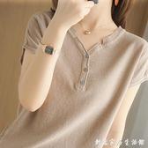夏季棉麻V領半袖T恤女2021新款亞麻寬鬆純色短袖系扣上衣純棉外穿 創意家居