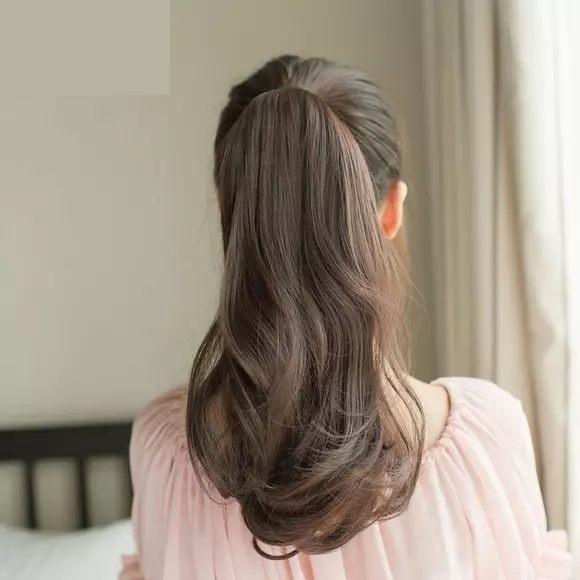 假髮馬尾 短款梨花真馬尾假髮女真髮高長卷發大波浪綁帶式假辮子