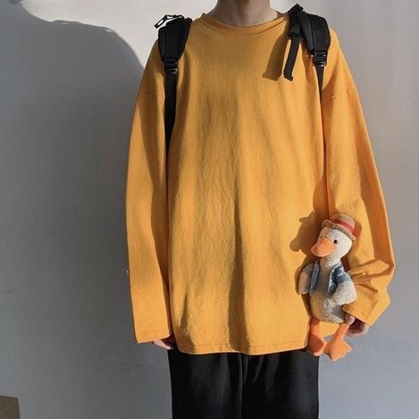 長袖上衣 長袖上衣男寬鬆潮流純色打底衫秋冬內搭衣服男裝休閒 果果生活館