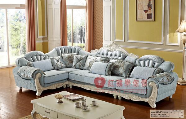 [紅蘋果傢俱] 083 歐式系列 古典 歐式 法式 L型沙發組 布藝 布沙發 椅子 工廠直營