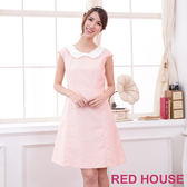 【RED HOUSE-蕾赫斯】緹花無袖蝴蝶結領洋裝(甜美粉)