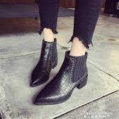 短靴新款高跟粗跟馬丁靴尖頭鉚釘加絨學生切爾西靴潮·蒂小屋