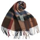 S.T.Dupont羊駝毛混紗時尚格紋圍巾(咖啡系)989120-5