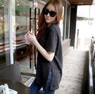 EASON SHOP(GU0521)韓版短袖T恤女夏韓版寬鬆中長款純色大開叉黑色圓領棉t恤純棉半袖竹節棉