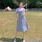 牛仔吊帶裙 2021年女學生夏季中長款牛仔背帶連衣裙氣質減齡過膝顯瘦牛仔裙潮 快速出貨
