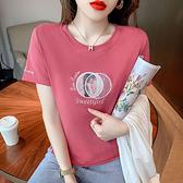 短版t恤 大碼短t短袖t恤女裝短款顯瘦高腰上衣服休閑半袖體恤HF211.胖丫