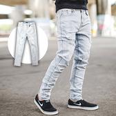 牛仔褲 韓國製皮革吊飾淺藍刷白抓破牛仔褲【NB0638J】
