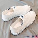 熱賣帆布鞋 一腳蹬帆布小白鞋2021新款女百搭秋季透氣學生韓版懶人休閒薄底鞋 coco