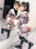 女童呢子外套加厚貂絨洋氣童裝2019年秋冬裝新款兒童網紅毛呢大衣【免運】