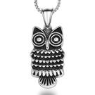 《 QBOX 》FASHION 飾品【CSP620】精緻個性歐美復古貓頭鷹圖騰鑄造鈦鋼墬子項鍊/掛飾