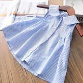 女童無袖襯衫夏裝韓版寶寶條紋背心