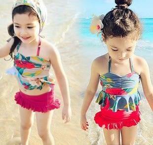 童泳裝 韓版女童花朵綁帶式二件式泳衣(含泳帽) S6D003 AIB小舖