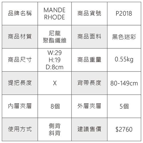 MANDE RHODE - 卡莫雷茲 - 美系潮男風格隨身斜背包 - 迷彩黑【P2018】