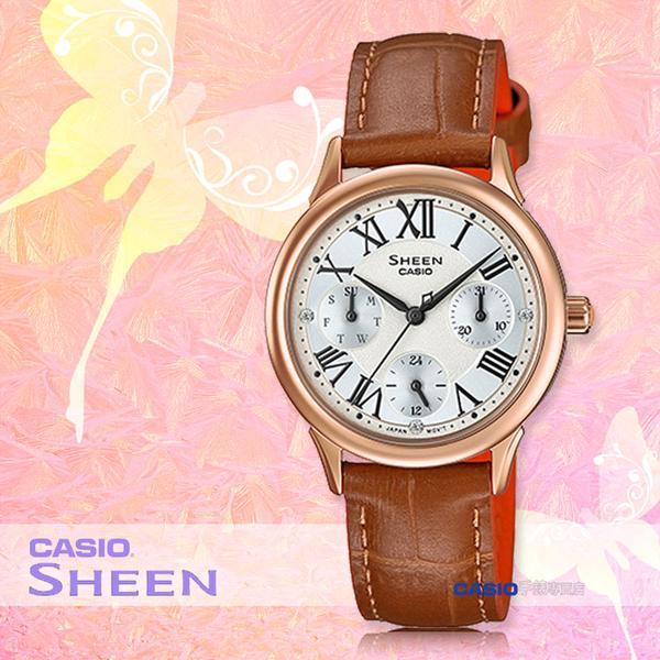 CASIO 卡西歐 手錶專賣店 SHE-3049PGL-7A 女錶 皮革錶帶  三眼 防水 羅馬數字