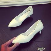 低跟鞋 3cm高跟鞋細跟黑色工作鞋尖頭低跟婚鞋四季鞋白色女鞋單鞋潮  快速出貨